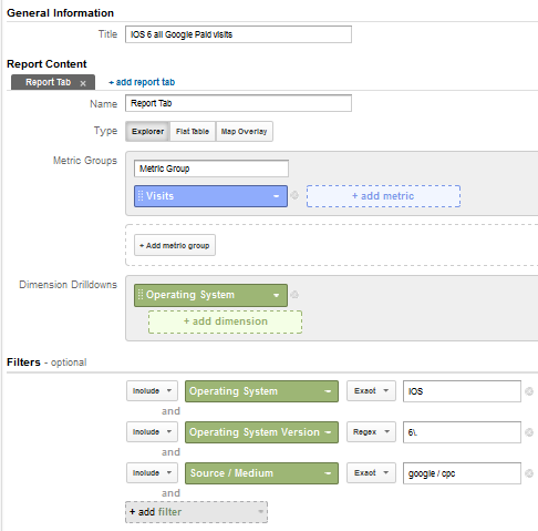 custom report google analytics paid for