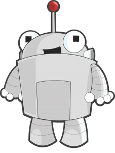 Roger the Robot, the Moz mascot.