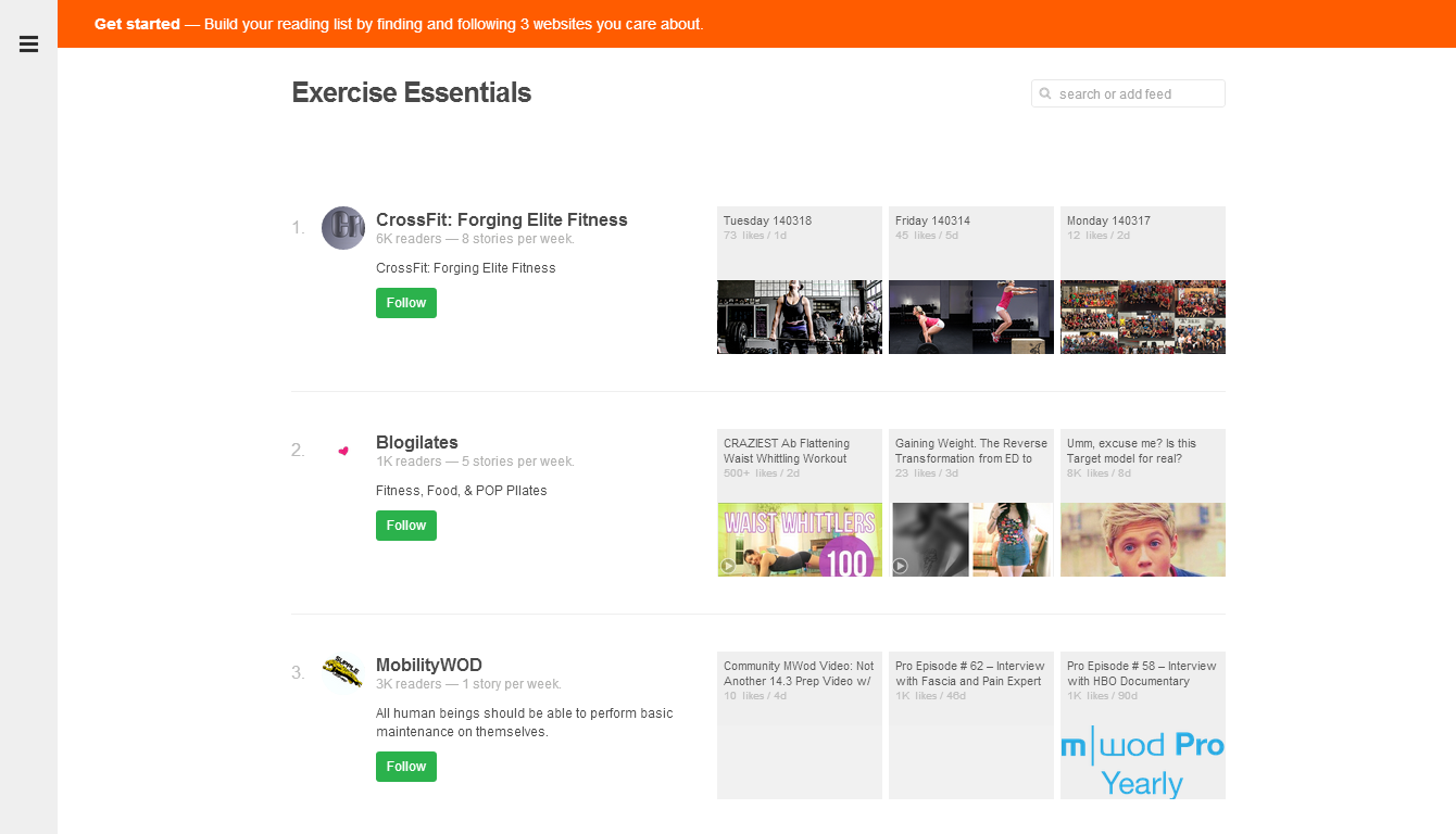 feedly exercise