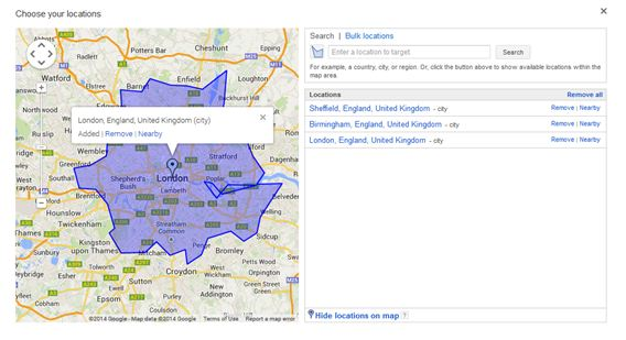 Google AdWords Choose Location