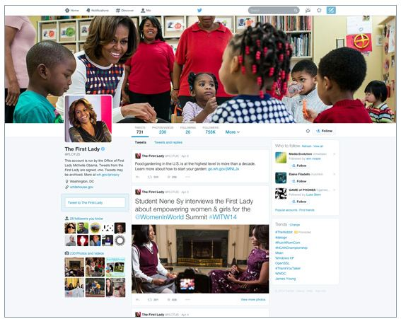 Michelle Obama new Twitter profile