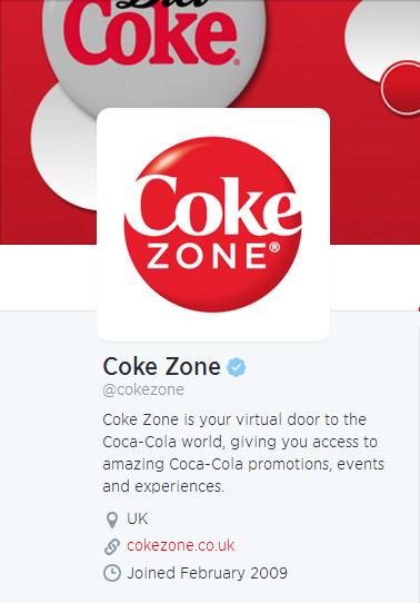Coke Twitter bio