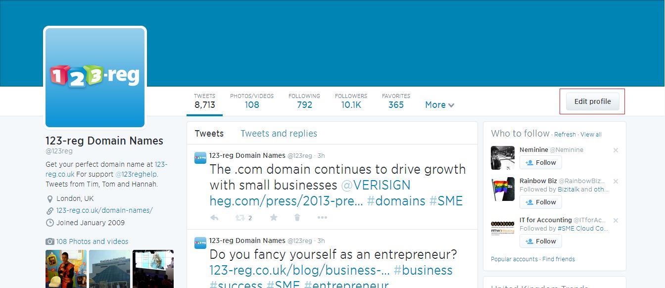 Twitter edit profile