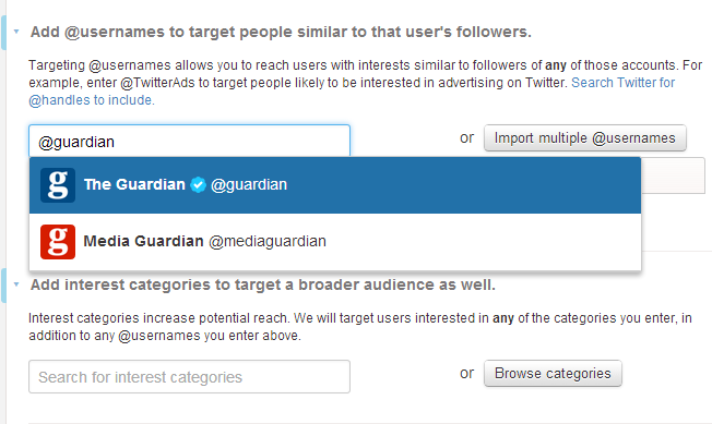 Guardian twitter targeting