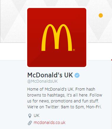 McDonald's Twitter bio
