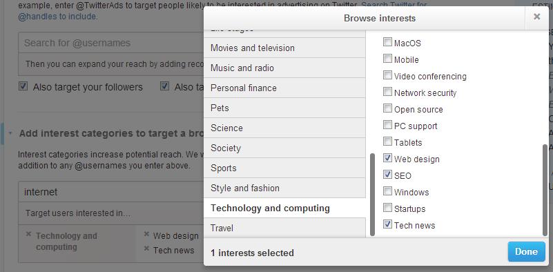 promoted tweet interests