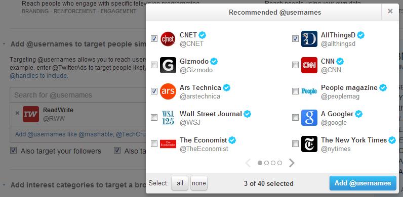 Promoted tweet users