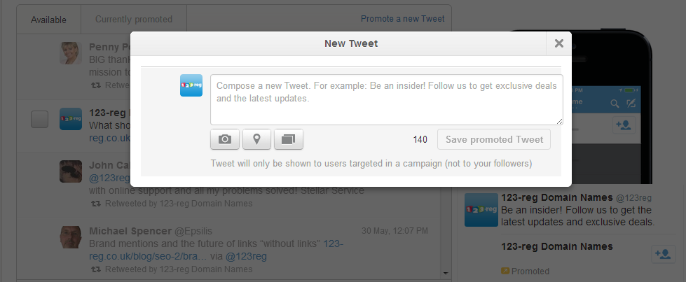Promote new tweet