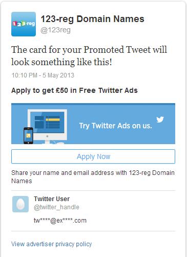 Twitter lead card