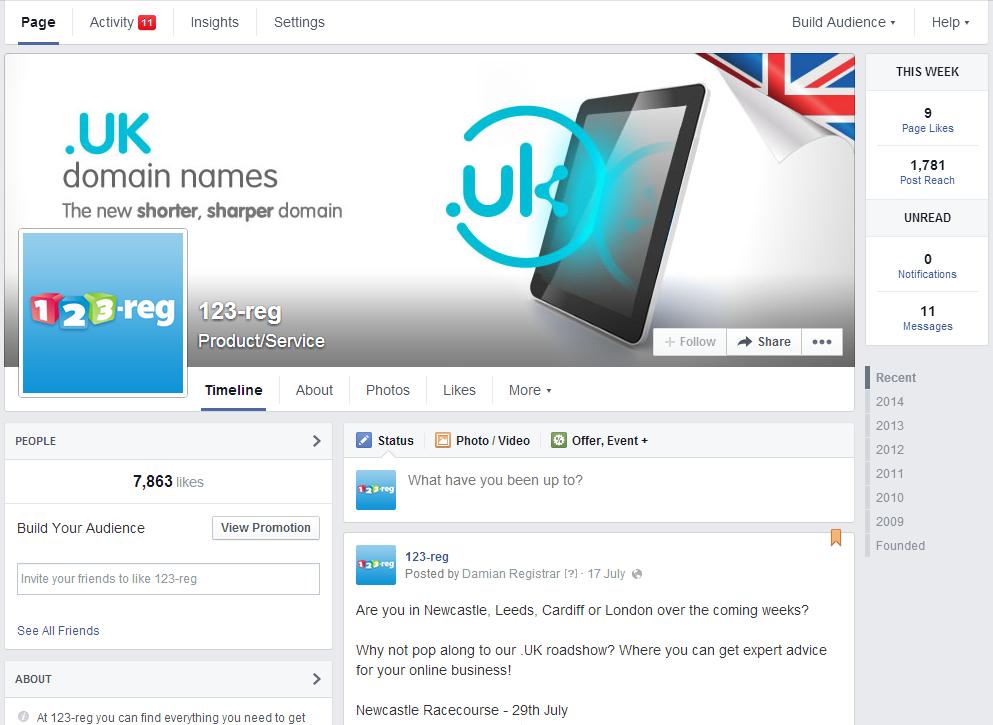 Screenshot of the 123-reg Facebook page