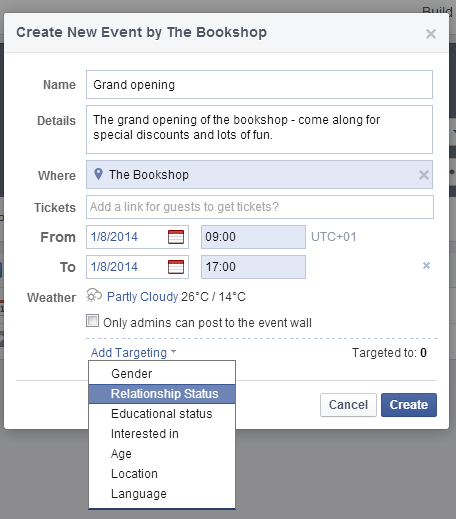 Facebook event example 2