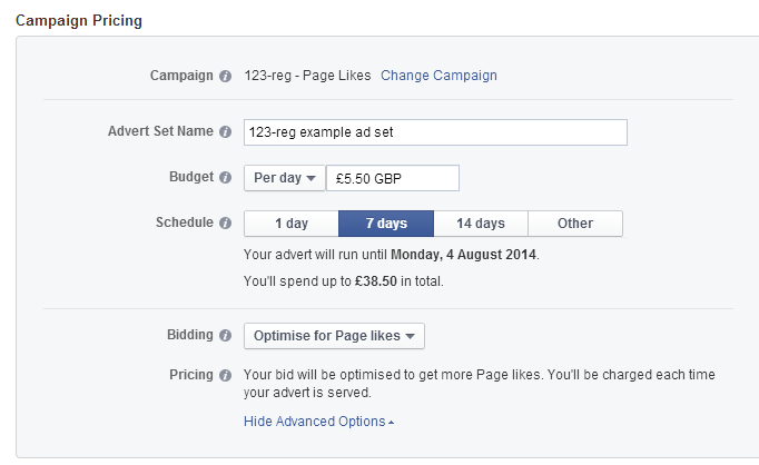 Facebook campaign pricing example