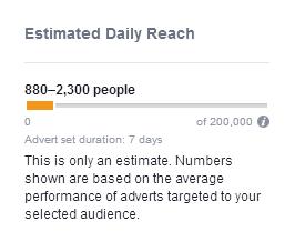 Facebook estimated daily reach example
