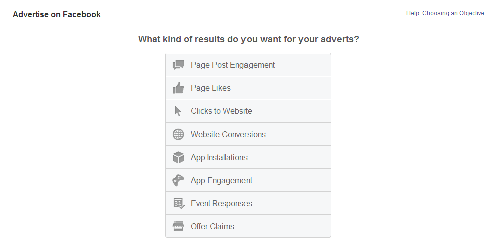 An image showing the different Facebook ad types