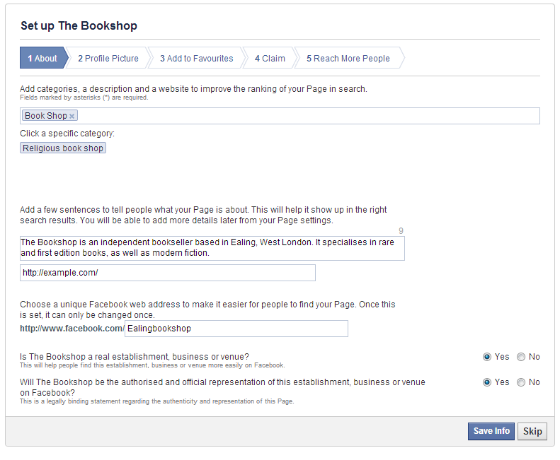 Example of a Facebook setup page