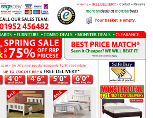 """Free delivery""– Visitors to monsterbeds.co.uk can hardly miss this information"