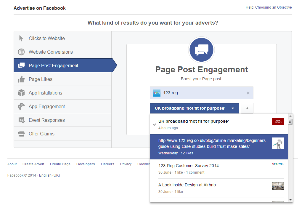 Page post engagement setup screenshot