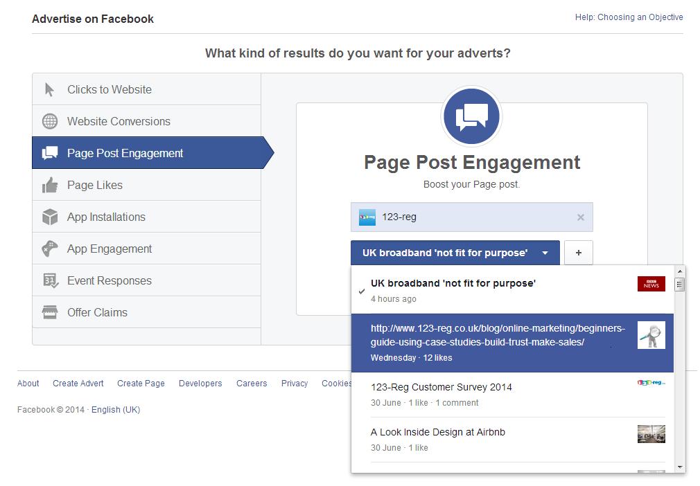 Page post engagement setup screenshot