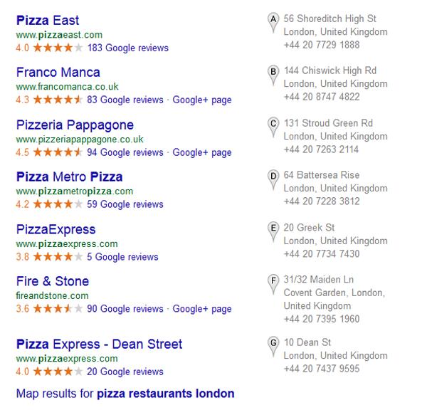 Google seven-pack listing
