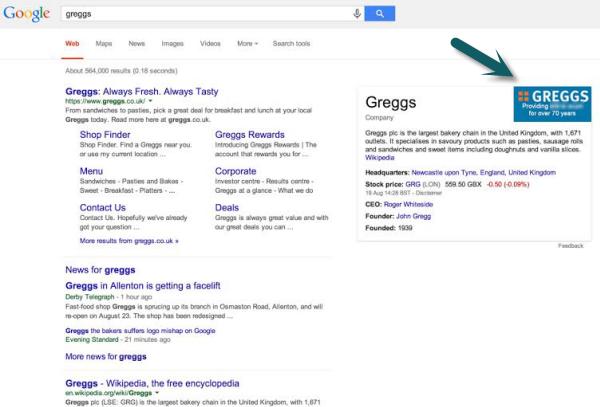 Google search Greggs fake logo