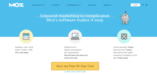 Moz site content example