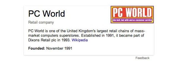 Google search PC World fake logo