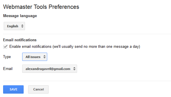Webmaster Tools Preferences