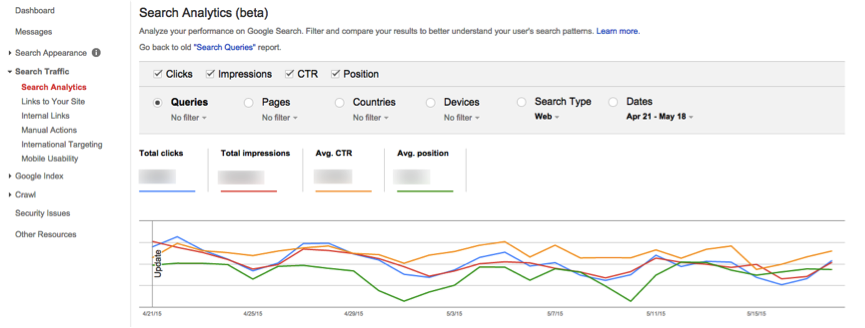 search analytics GWT