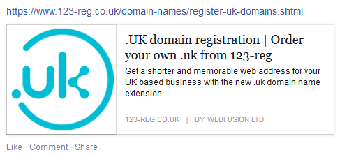 Register .uk domain Facebook post