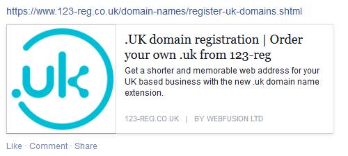 Register .uk domain Facebook post