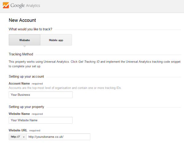 Google Analytics New Account
