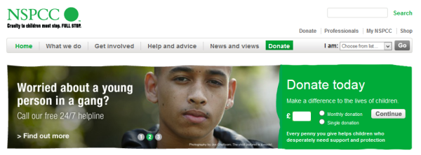 NSPCC donate call to action