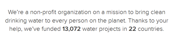charity water organisation proof
