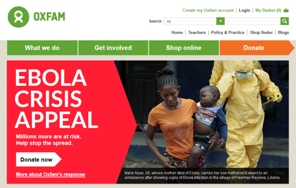 oxfam donate call to action