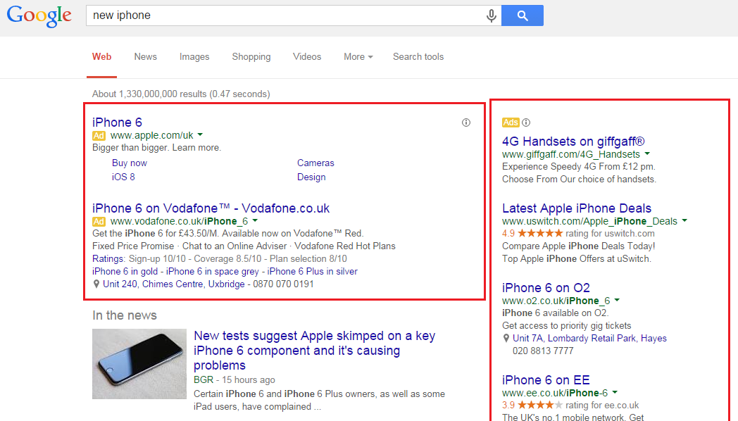 Google AdWords ads.