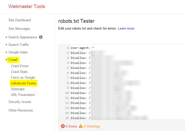 robots txt Webmaster Tools