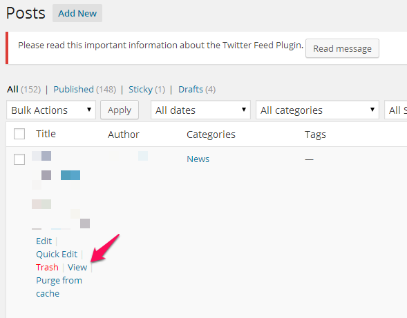 WordPress view post