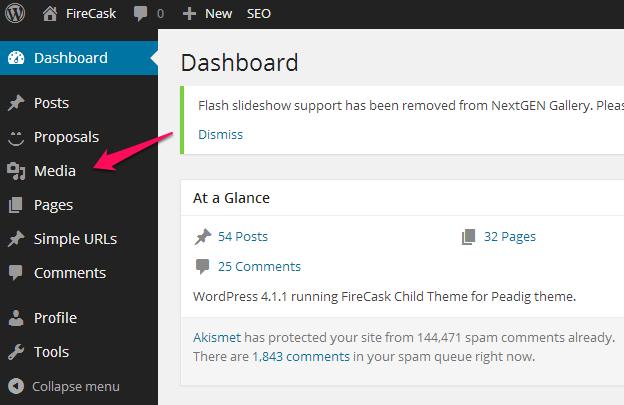 WordPress media upload