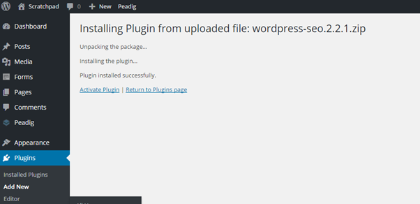Activating WordPress plugins