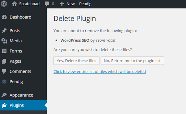 Delete a WordPress plugin