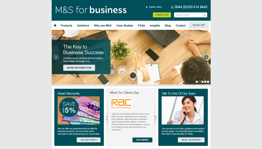 M&S Business is another high-profile WordPress user
