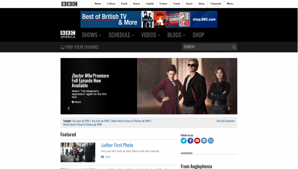 The BBC America site also uses WordPress