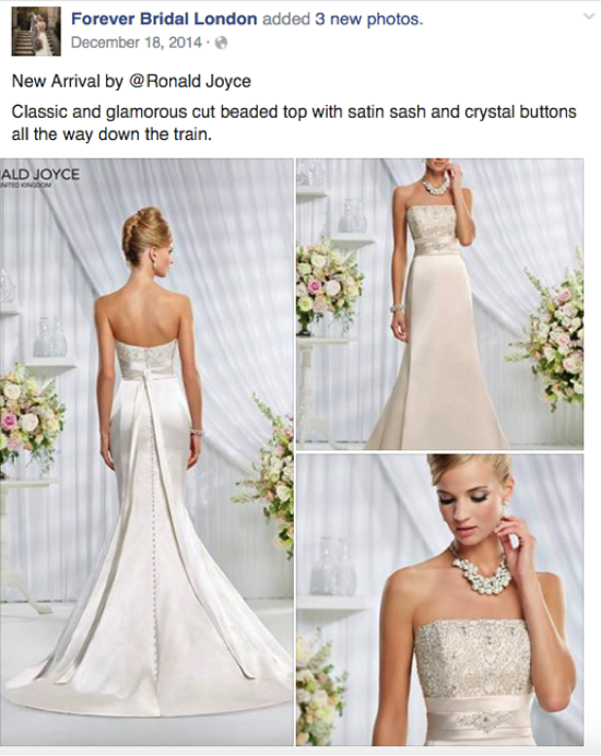 bridal shop social media