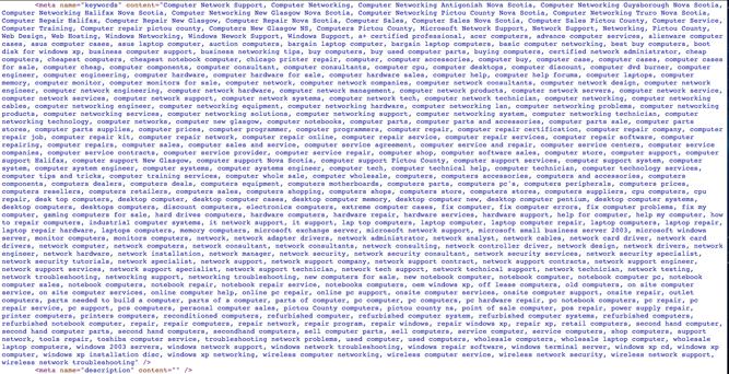 Meta keyword tags