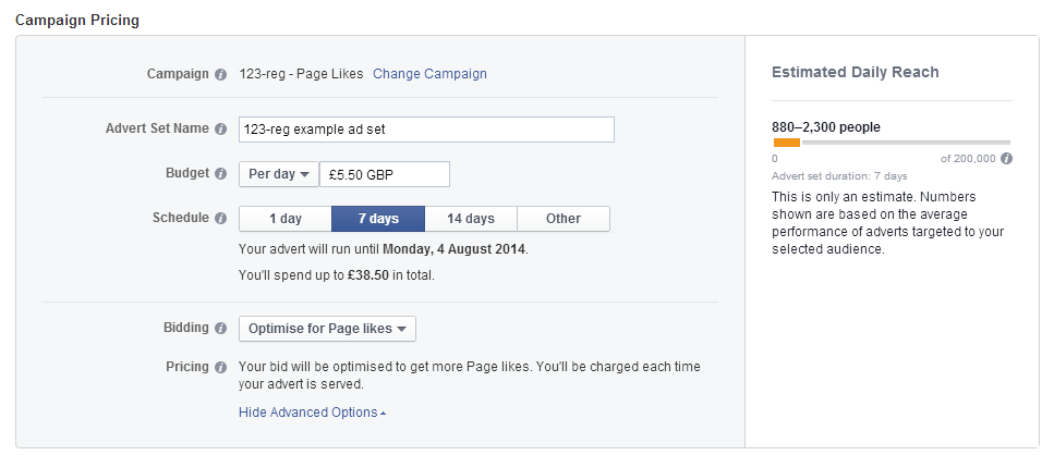 An example of Facebook campaign pricing