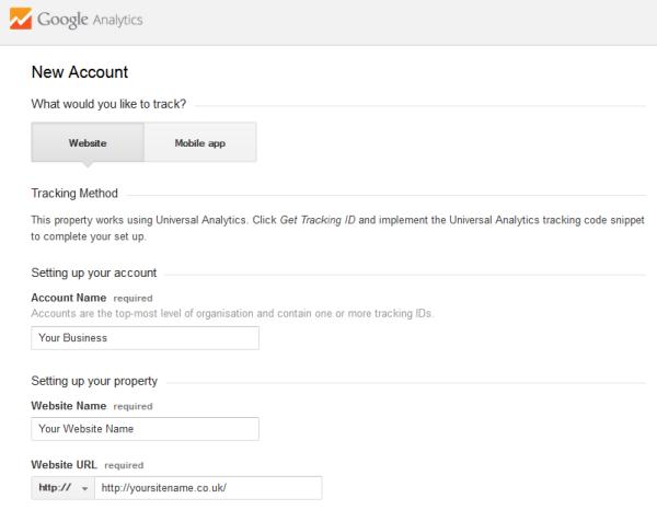 Google Analytics New Account