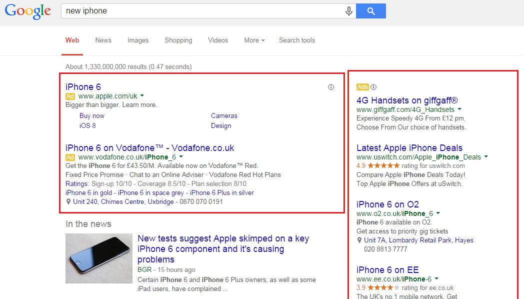 Google AdWords ads.