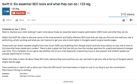 123 reg youtube description example