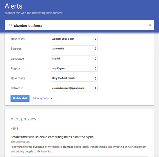 how to set up google alerts to email