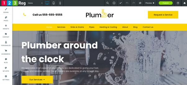 A 123 Reg Website Builder template designed for a plumbing business